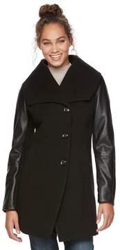 Apt. 9 Women's Faux-Leather Wool Blend Coat