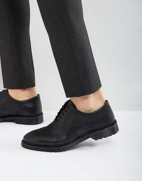 Asos Brogue Shoes In Black Leather With Ribbed Sole