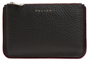 Orciani Large Soft Line Velvet Trim Calfskin Leather Pouch - Red