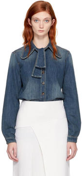 Chloé Blue Denim Bow Shirt