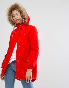 Noisy May Parka With Faux Fur Hood