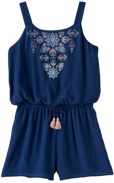 My Michelle Girls 7-16 Printed Embroidery Romper