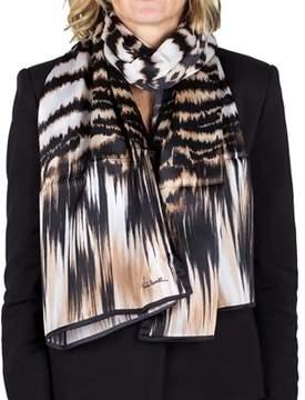 Roberto Cavalli Women's Animal Print Silk Scarf Large.