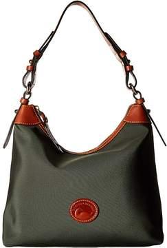 Dooney & Bourke Nylon Large Erica Hobo Handbags - BLACK WITH TAN TRIM - STYLE