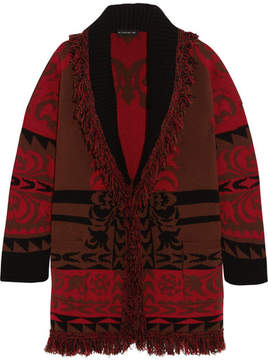 Etro Fringed Intarsia Wool Cardigan - Red