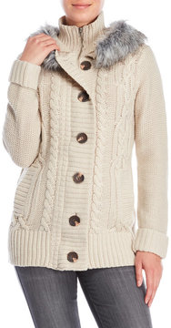 Cliche Faux Fur Hooded Cable Knit Sweater