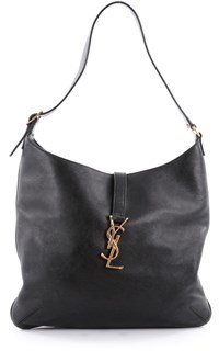 Saint Laurent Pre-owned: Classic Monogram Hobo Leather Medium. - BLACK - STYLE