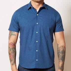 Blade + Blue Blue Geometric Circle Print Short Sleeve Shirt - LUCA