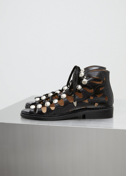 Toga Black Polido Cutout Lace Up Sandal