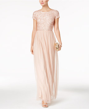 Adrianna Papell Sequined Tulle A-Line Gown