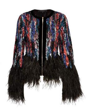 Elie Saab Feather-trimmed Embellished Tulle Jacket - Black