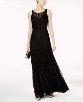 Betsy & Adam Mesh & Satin Illusion Stripe Gown