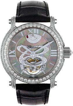 Chopard Classic Black Mother of Pearl Dial 18kt White Gold Diamond Black Leather Ladies Watch