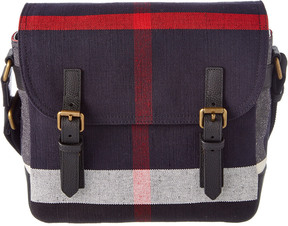 Burberry Leather-Trim Canvas Check Messenger Bag
