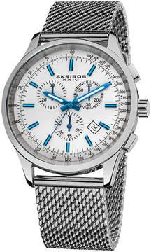 Akribos XXIV Akribos White Dial Chronograph Stainless Steel Mesh Men's Watch