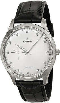 Zenith Elite Silver Dial Stainless Steel Black Leather Automatic Men's Watch