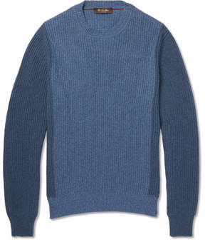 Loro Piana Bi-Colour Ribbed-Knit Cashmere Sweater