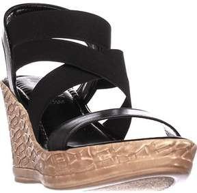Easy Street Shoes Tuscany Felisa Strappy Wedge Sandals, Black.