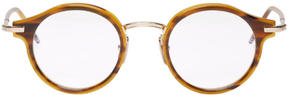 Thom Browne Tortoiseshell and Gold Round Glasses