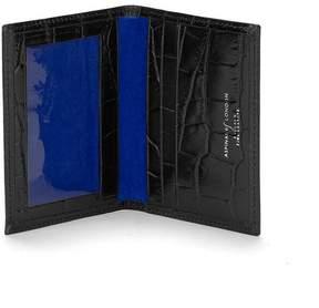 Aspinal of London | Id Travel Card Case In Deep Shine Black Croc Cobalt Suede | Black croc cobalt blue suede