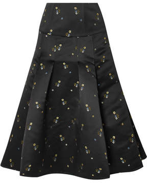 Erdem Gael Pleated Embroidered Duchesse-satin Midi Skirt - Black