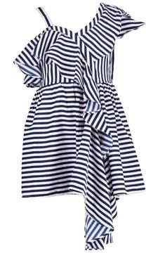 boohoo Girls Stripe Ruffle Asymetric Skater Dress