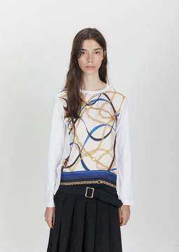 Comme des Garcons Cotton Jersey Silk Scarf Pattern Tee White