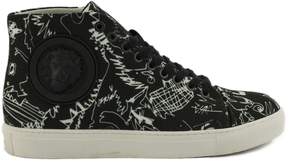 Versace Black Canvas Sneakers With Lion Head.
