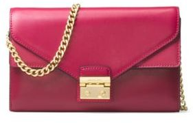 MICHAEL Michael Kors Sloan Leather Chainlink Clutch - PINK - STYLE
