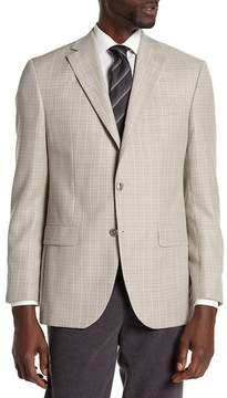 David Donahue Beige Plaid Two Button Notch Lapel Wool Classic Fit Sport Coat