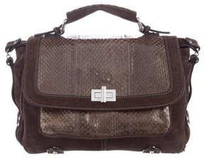 Barbara Bui School's Out Snakeskin-Trimmed Satchel