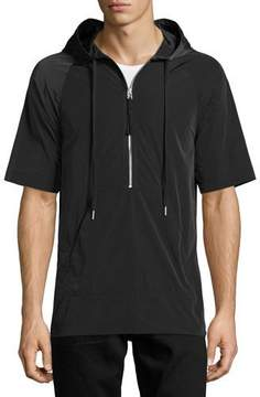 Helmut Lang Side-Zip Short-Sleeve Nylon Hoodie, Black