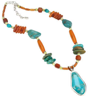Barse Women's Turquoise/Horn Necklace SN6190THN