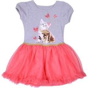 Nannette Little Girls' 4-6X Cats & Butterflies Glitter Tutu Dress