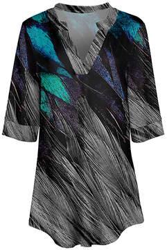 Azalea Gray & Turquoise Abstract V-Neck Tunic - Women & Plus