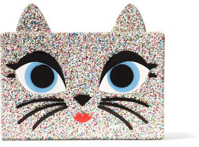 Karl Lagerfeld - Choupette Embellished Glittered Acrylic Box Clutch - Gold