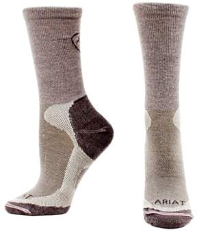 Ariat Mens Socks Merino Wool Liner Ribbed Calf Slide Proof L Gray A2506806