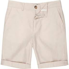 River Island Boys cream suit shorts with linen