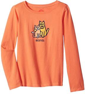 Life is Good Besties Cat Dog Long Sleeve Crusher Tee Girl's T Shirt