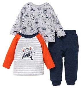 Little Me Baby Boy's Three-Piece Monster Top and Sweatpants