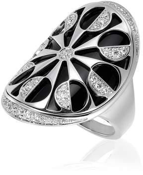 Bvlgari Intarsio 18K White Gold Ring- Size 8.25