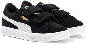 Puma Black and White Suede 2 Strap Trainers
