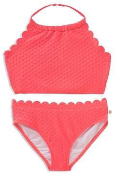 Kate Spade Girls' Textured Scalloped 2-Piece Swimsuit - Little Kid