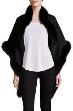 Sofia Cashmere Oblong Fox Fur-Trimmed Cashmere Wrap