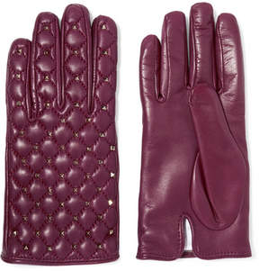 Valentino Rockstud Quilted Leather Gloves - Grape