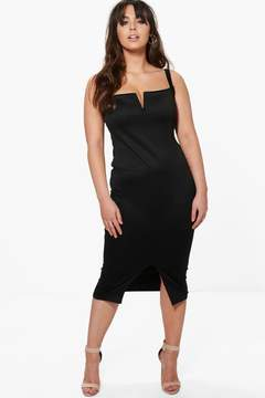 boohoo Plus Amber Split Front Midi Dress