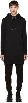 Balmain Black Long Side Zip Hoodie