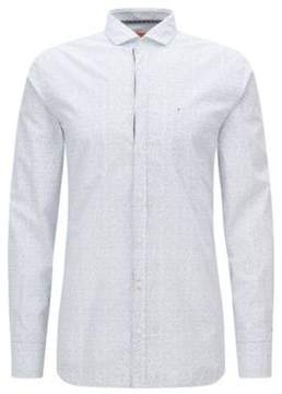 BOSS Hugo Speckled Cotton Button Down Shirt, Slim Fit Cattitude L Natural