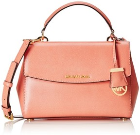 MICHAEL Michael Kors Ava Small Peach Leather Top Handle Satchel Bag - ORANGES - STYLE