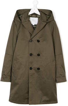 Burberry double breasted hooded coat